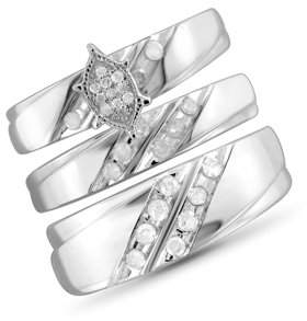 JewelersClub 1/2 Carat T.W. White Diamond Sterling Silver Trio Engagement Ring Set