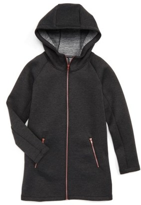 Girl's Zella Girl Spacer Long Hooded Jacket $79 thestylecure.com