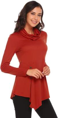 NECK & NECK Meaneor Womens Long Sleeve Loose Fitting Cowl Neck Flowy Tunic Top(,XXL)