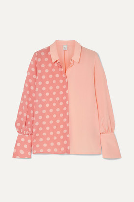 Mother of Pearl + Net Sustain And Bbc Earth Miles Faux Pearl-embellished Polka-dot Organic Silk Shirt - Pink