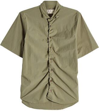 Marni Cotton Shirt with Gathered Hem