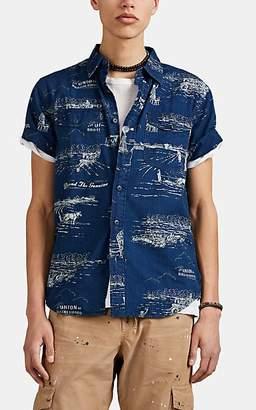 Lee RRL Men's Ranch-Print Cotton Work Shirt - Dk. Blue