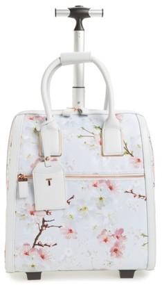 Ted Baker London Alayaa Cherry Blossom Two-Wheel Travel Bag - Grey $295 thestylecure.com