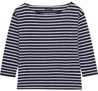 J.Crew - Striped Slub Cotton-blend Jersey Top - Navy $40 thestylecure.com