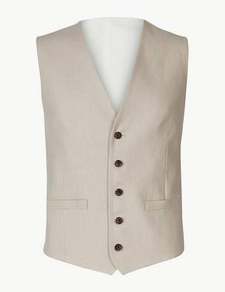 Marks and Spencer Textured Regular Fit Linen Waistcoat