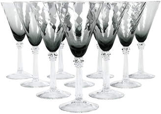 One Kings Lane Vintage Set of 10 Crystal Bell-Shaped Glassware - La Maison Supreme