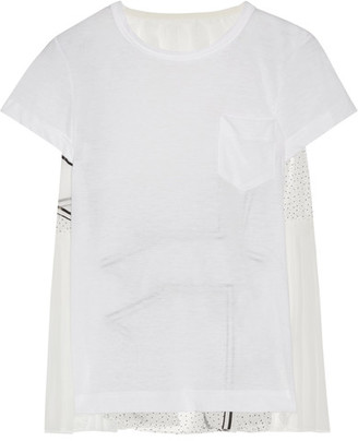 Sacai - Printed Organza-paneled Linen-blend Jersey Top - White $460 thestylecure.com