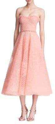 Marchesa Overlay Honeycomb Gown