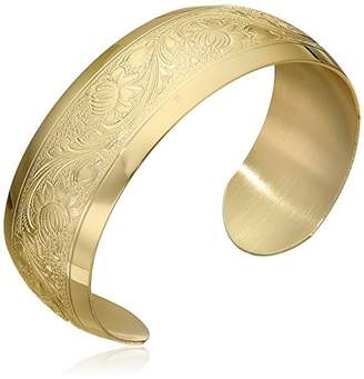 14k Yellow -Filled Embossed Flower Design Cuff Bracelet