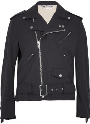 Ruffled Pinstriped Wool Biker Jacket - Navy