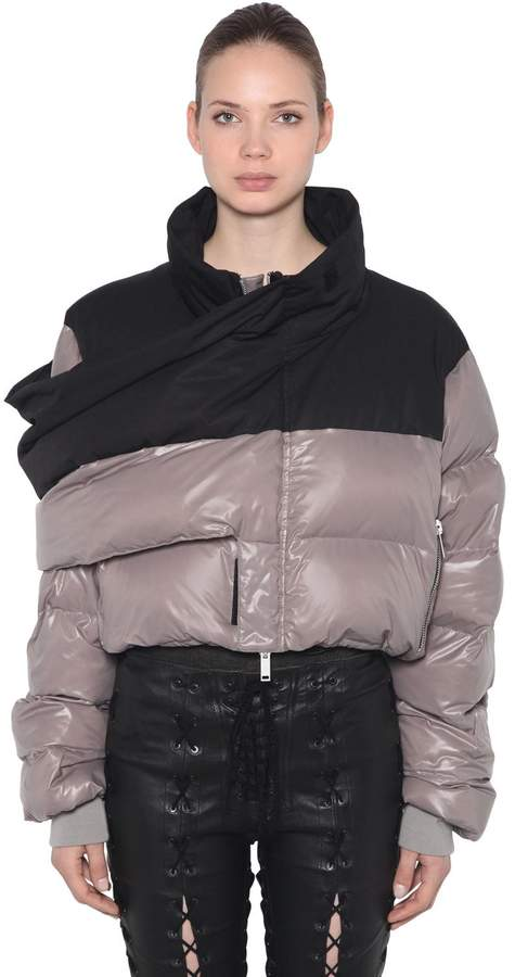 Short Down Jacket With Warp Panel