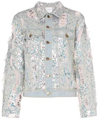 Ashish sequin embellished ripped denim jacket