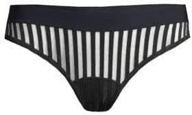 Commando Striped Mesh Thong
