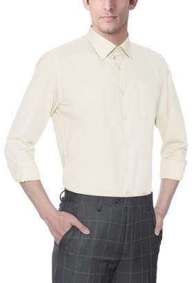 Verno Men's Classic Fashion Fit Long Sleeve Ivory Color Dress Shirt