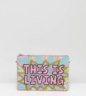 FROM ST XAVIER From St Xavier X How Two Live Hand Beaded This Is Living Clutch Bag