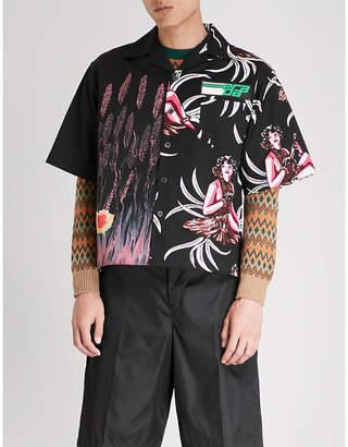 Prada Contrasting prints regular-fit cotton shirt