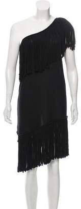 Lanvin Fringed One-Shoulder Dress