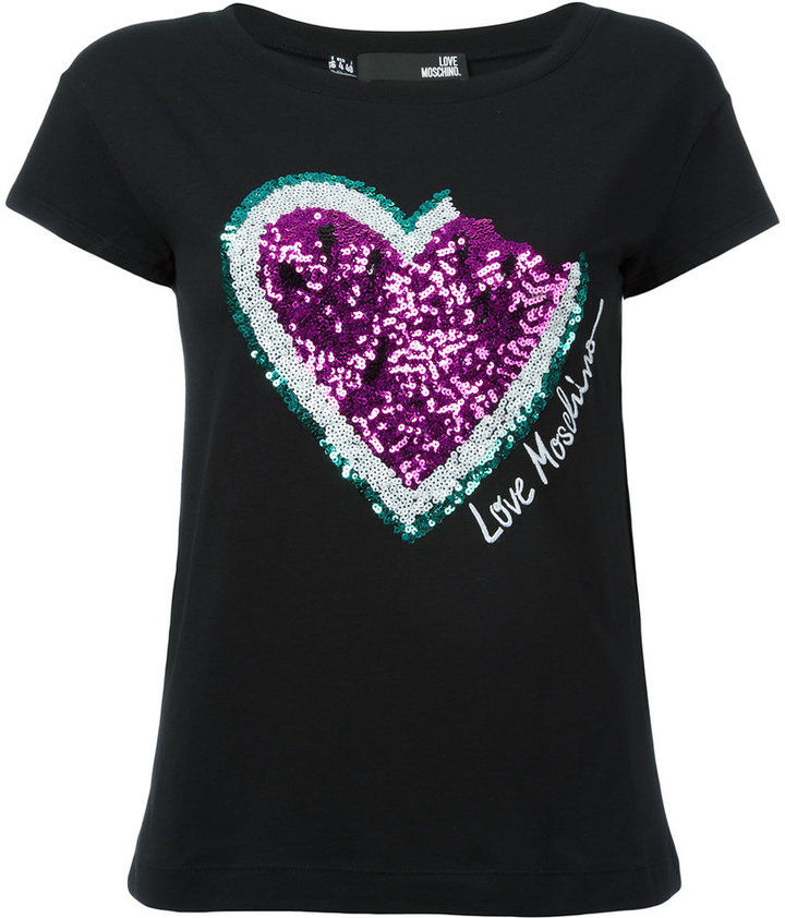 Love Moschino Love Moschino sequinned heart T-shirt