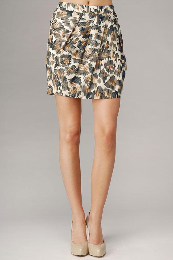Leopard Print Silk Cotton Voile Tucked Skirt
