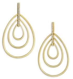 Carelle Moderne Diamond& 18K Yellow Gold Trio Teardrop Earrings