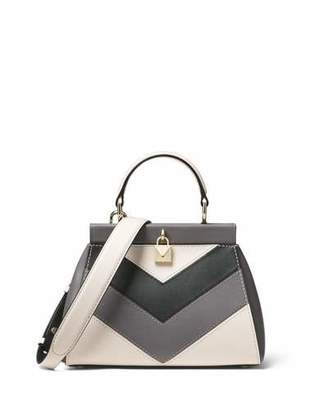 MICHAEL Michael Kors Gramercy Small Framed Chevron-Blocked Leather Satchel Bag - Light Golden Hardware
