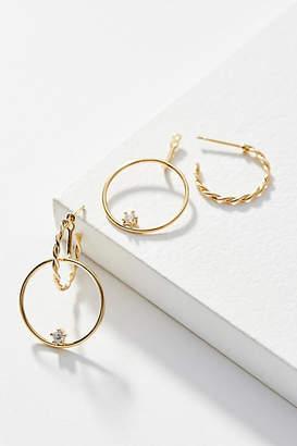 Anthropologie Braided Linked Hoop Earrings
