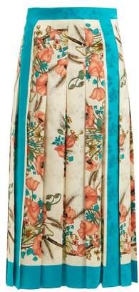 Gucci Poppy Print Floral Jacquard Silk Skirt - Womens - Pink Multi