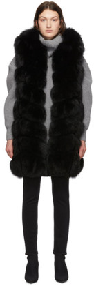 Yves Salomon Black Fox Fur Long Vest