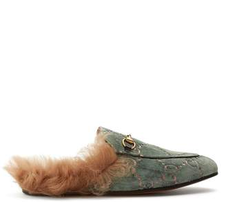 Gucci Princetown shearling-lined velvet loafers