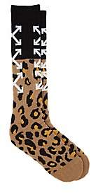 Off-White Men's Logo-Leopard Cotton-Blend Mid-Calf Socks - Brown