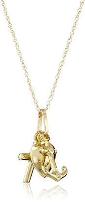 14k Yellow Heart Cross Anchor Faith Hope Love Charm Pendant Necklace