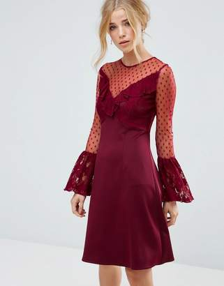 Elise Ryan A Line Mini Dress With Lace Frill & Fluted Long Sleeve