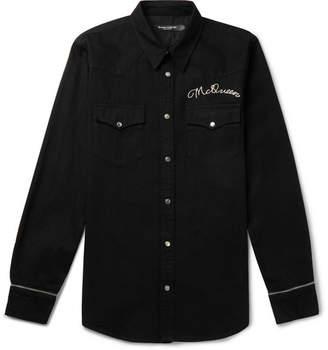 Alexander McQueen Slim-Fit Logo-Embroidered Denim Western Shirt