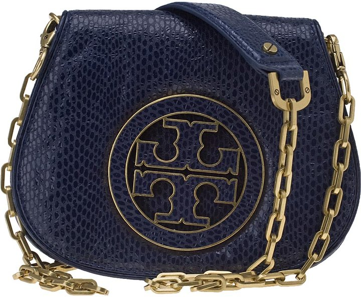 HANDBAGS Tory Burch Amanda Mini Logo Clutch Navy Snake