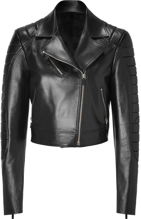 Versace Black Cropped Leather Jacket