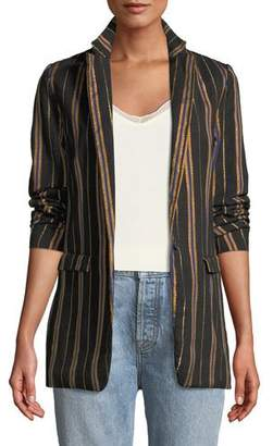 Forte Forte Masai Striped Metallic Single-Button Jacket