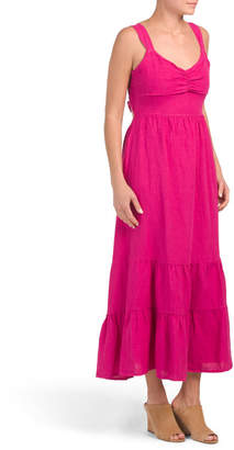 Magari Made In Italy Linen Tie Back Tiered Maxi Dress