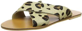Warehouse Women's Leather Cross Over Open Toe Sandals,8 (41 EU)