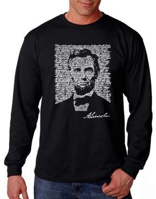 Pop Culture Los Angeles Pop Art Big Men's Long Sleeve T-Shirt - Abraham Lincoln - Gettysburg Address
