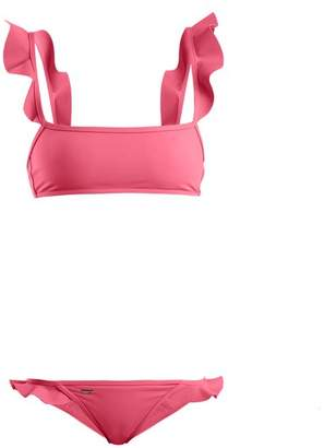 Fendi Ruffled Bonded Bikini Set - Womens - Pink
