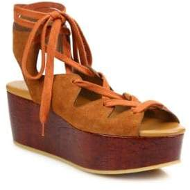 See by Chloe Liana Suede Lace-Up Wedge Platform Sandals