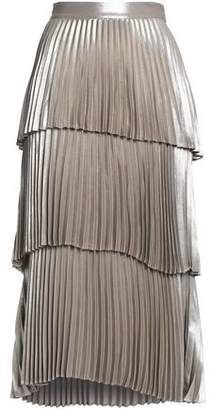 A.L.C. Tiered Pleated Satin Midi Skirt