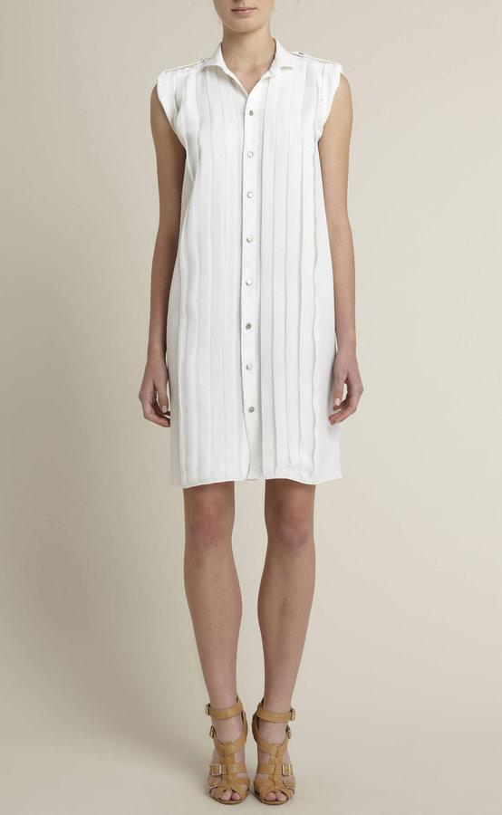 Pintucked Silk Sleeveless Shirt Dress