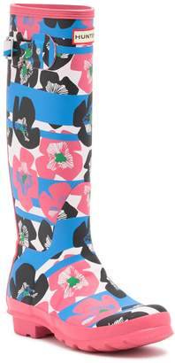 Hunter Tall Floral Stripe Rain Boot