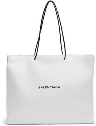 Balenciaga Shopping Tote East West L - Womens - White Black