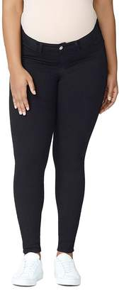 Good American Good Mama Waist-Inset Skinny Maternity Jeans in Black001
