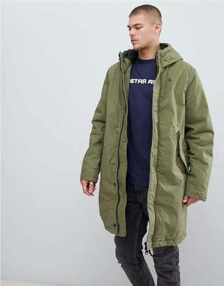 G Star G-Star sherpa lined hooded parka in green