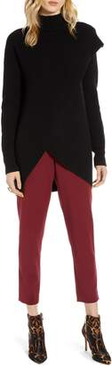 Halogen Faux Wrap Cashmere Blend Sweater