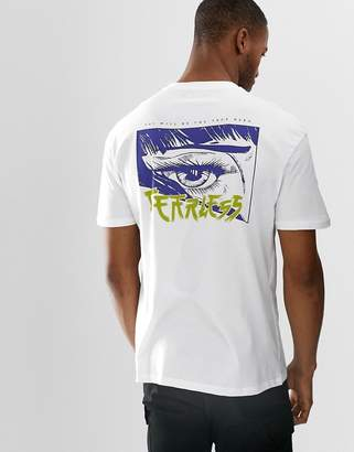 Bershka t-shirt with chest and back print in white