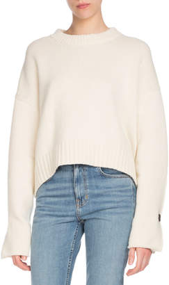Proenza Schouler Crewneck Folded Button-Cuffs Wool-Cashmere Sweater